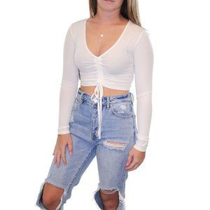 NWT ETIQUETTE Cropped Ruched Tie Front Top #S11